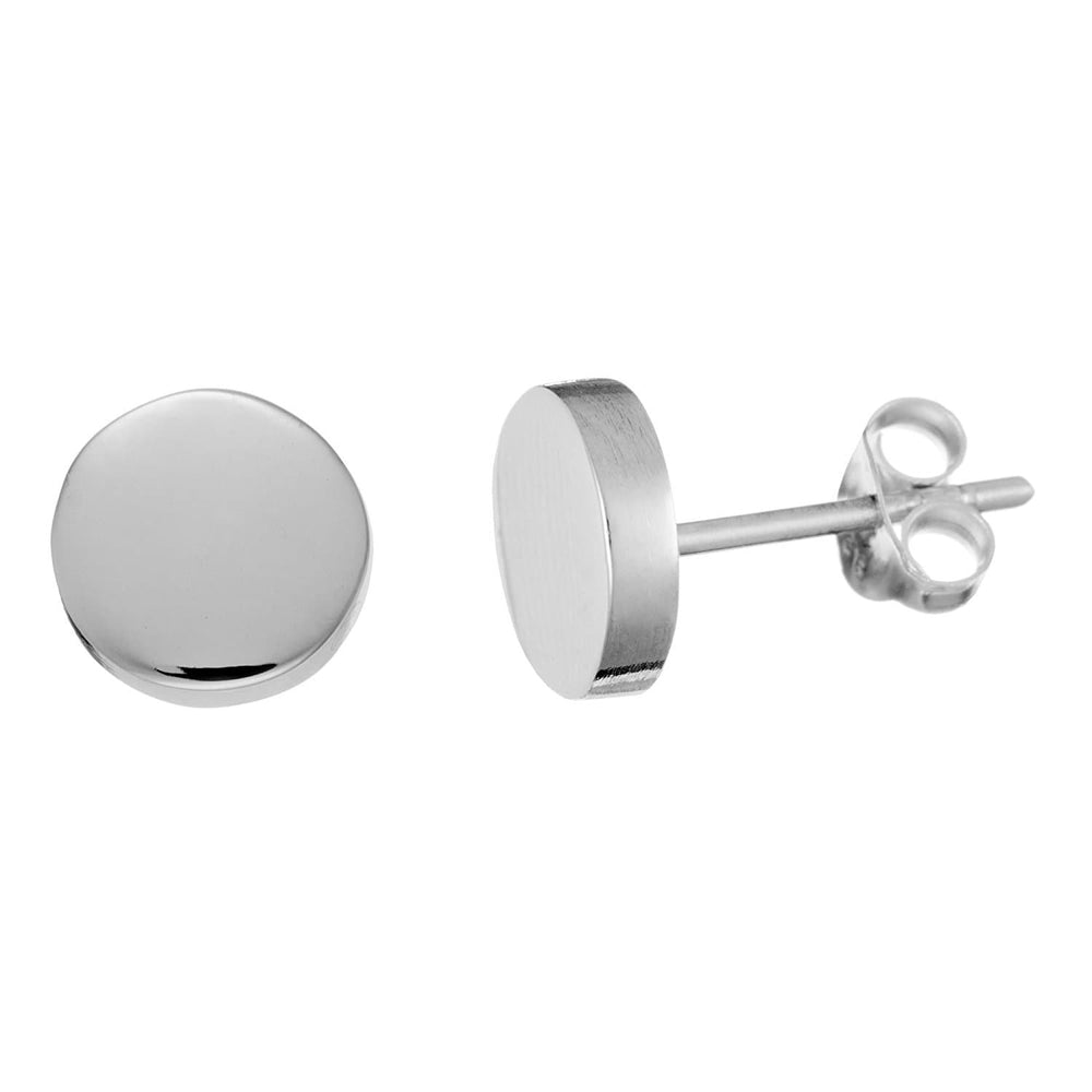 Sterling Silver Round Disc Stud Earrings