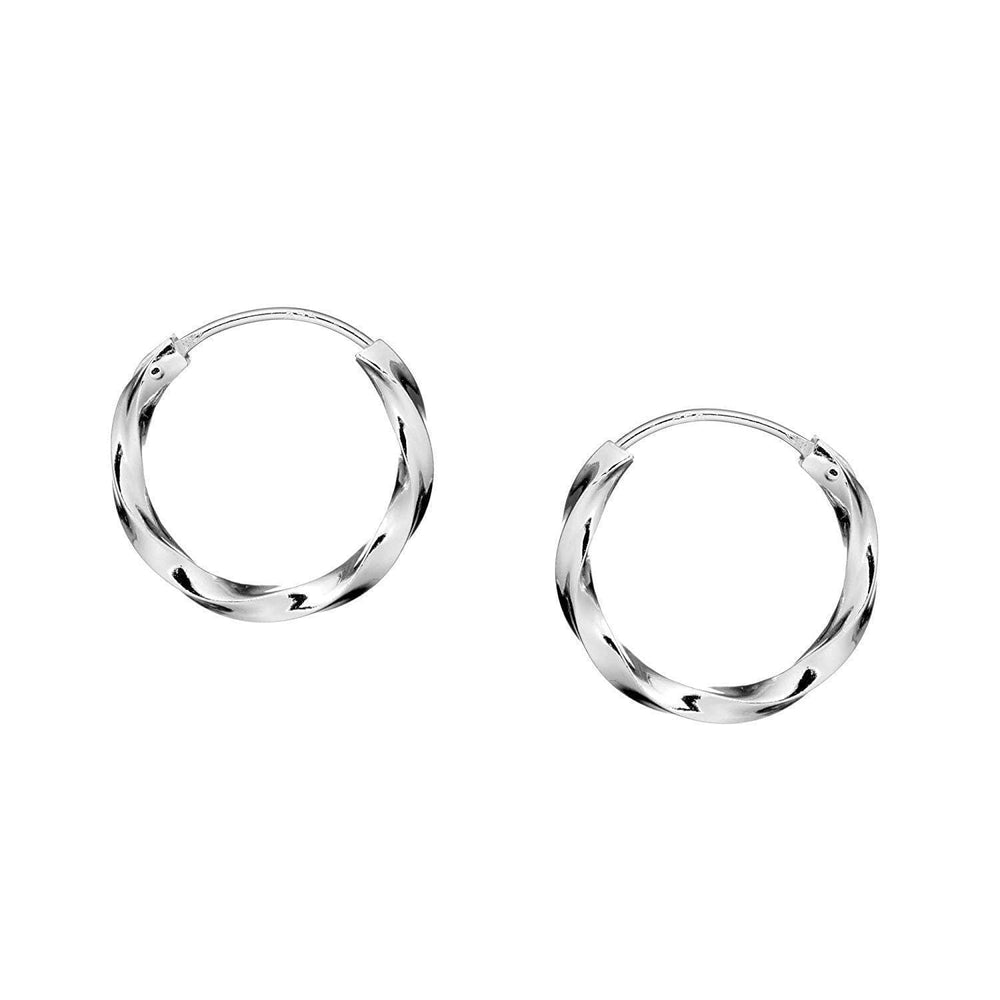 Sterling Silver Creole Twist Sleeper Hoop Earrings