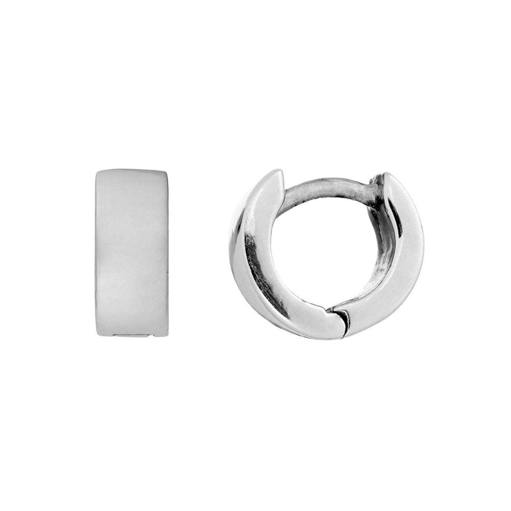 Sterling Silver Huggie Flat Square Tube Hoop Earrings