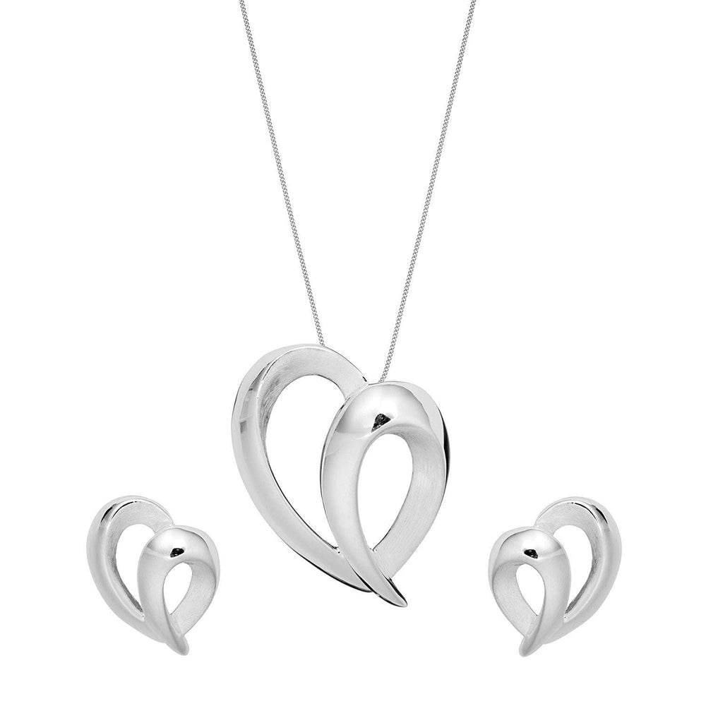 Brushed & Polished Sterling Silver Scribble Heart Set