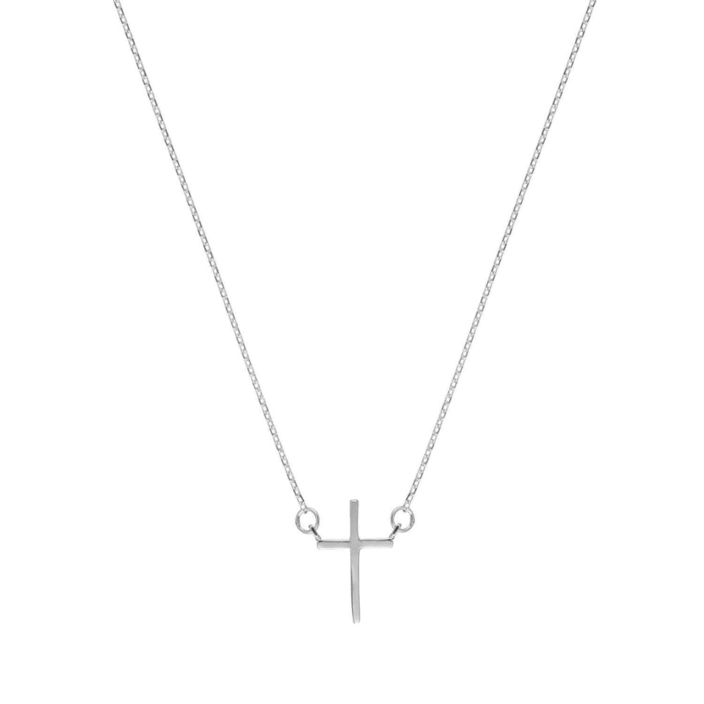 Sterling Silver Cross Rolo Chain Necklace