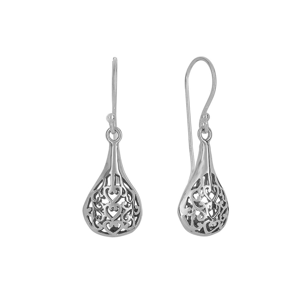 Sterling Silver Antique Style Filigree Drop Earrings