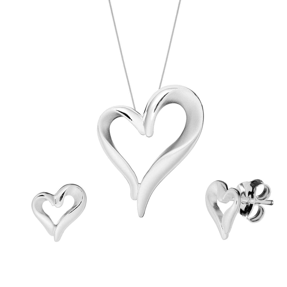 Brushed & Polished Sterling Silver Curved Open Heart Set