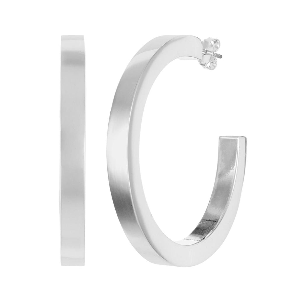 Sterling Silver Large Square Tube Hoop Stud Earrings