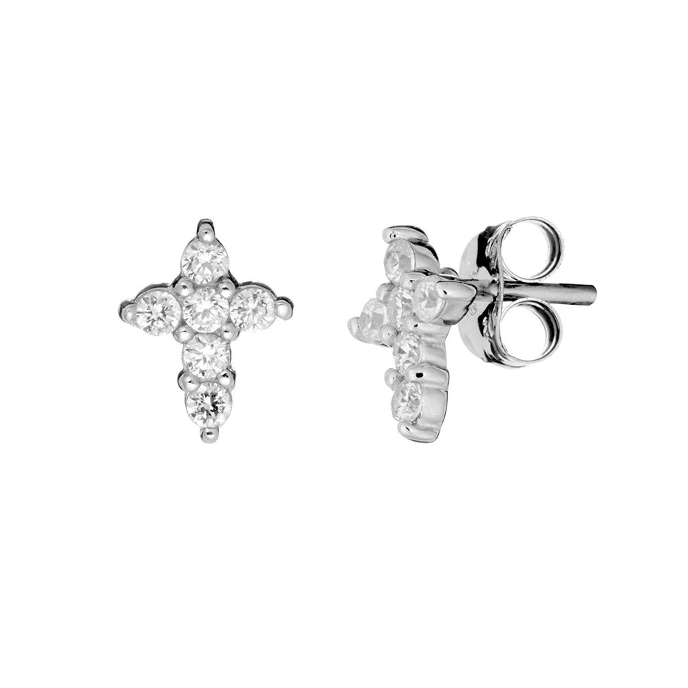 Load image into Gallery viewer, Sterling Silver Cubic Zirconia Cross Stud Earrings