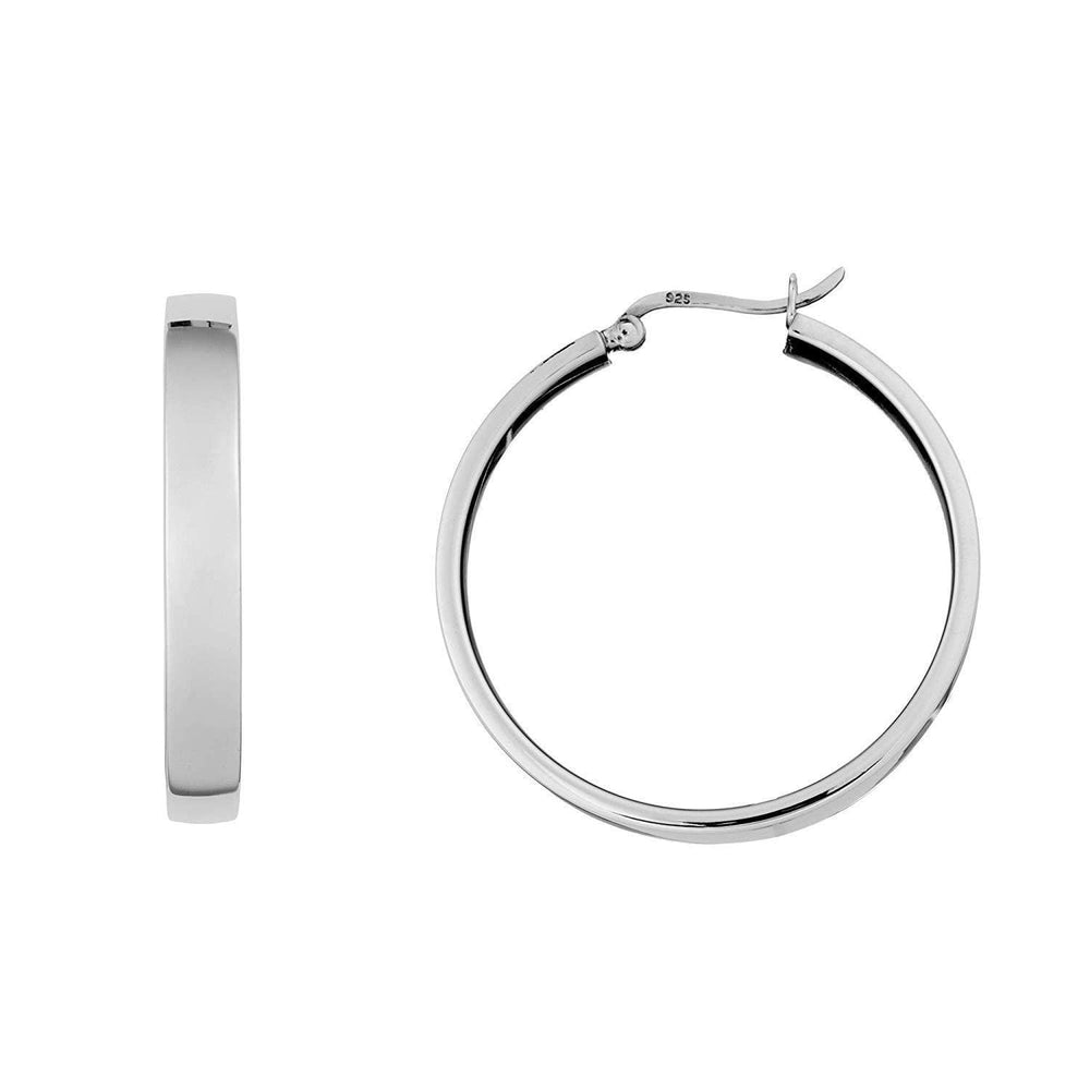 Sterling Silver Flat Square Tube Hoop Earrings