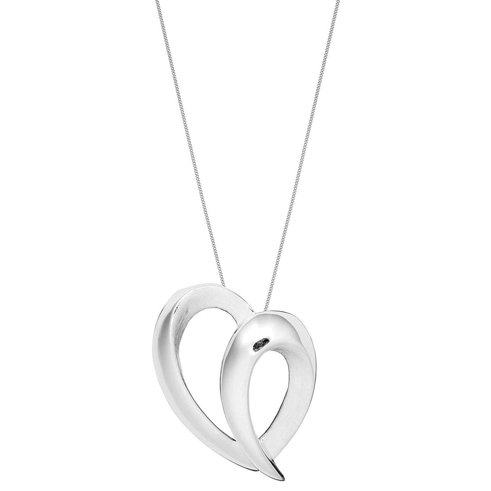 Brushed & Polished Sterling Silver Scribble Heart Pendant Necklace