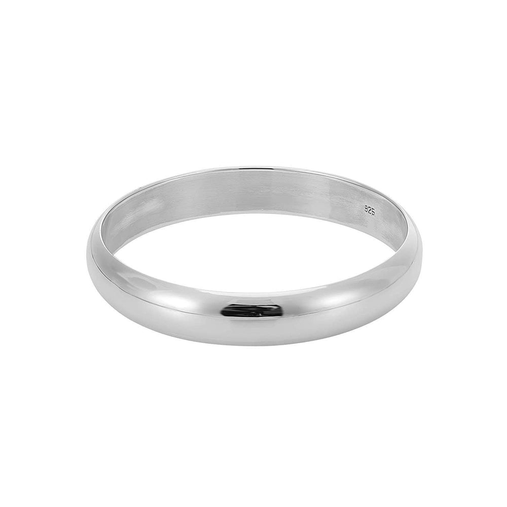 Sterling Silver Curved & Wide Closed Bangle