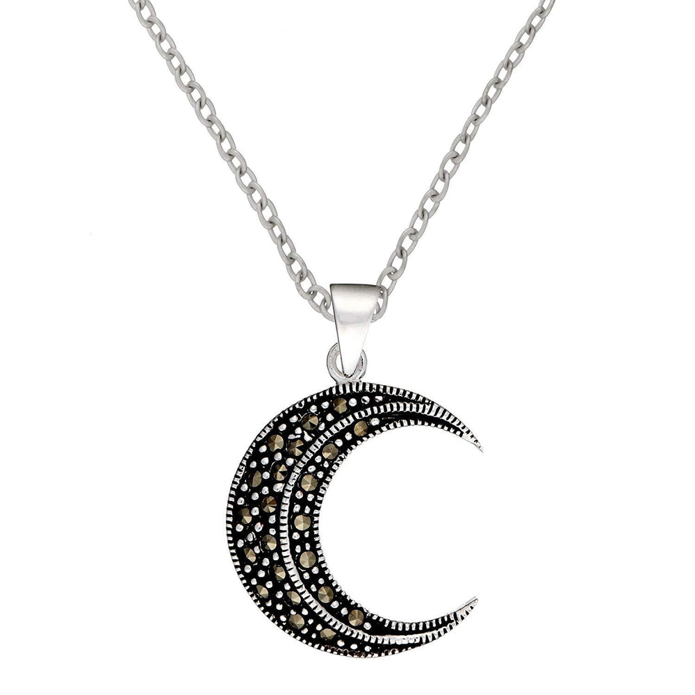 Load image into Gallery viewer, Sterling Silver Marcasite Crescent Moon Set
