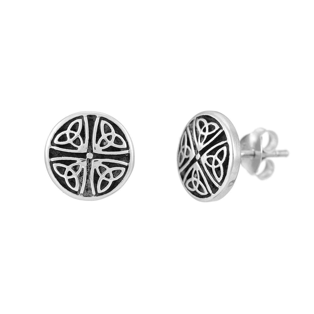 Sterling Silver Celtic Four Triquetra Stud Earrings