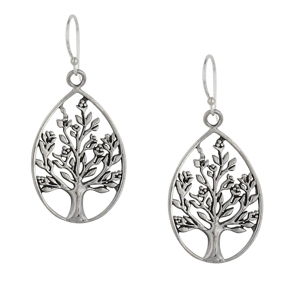 Sterling Silver Filigree Tree Teardrop Dangle Earrings