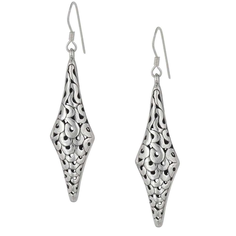 Sterling Silver Filigree Swirl Hollow Dangle Earrings