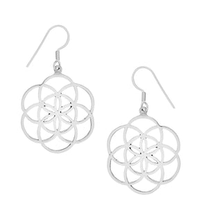 Load image into Gallery viewer, Sterling Silver Seed of Life Dangle Earrings