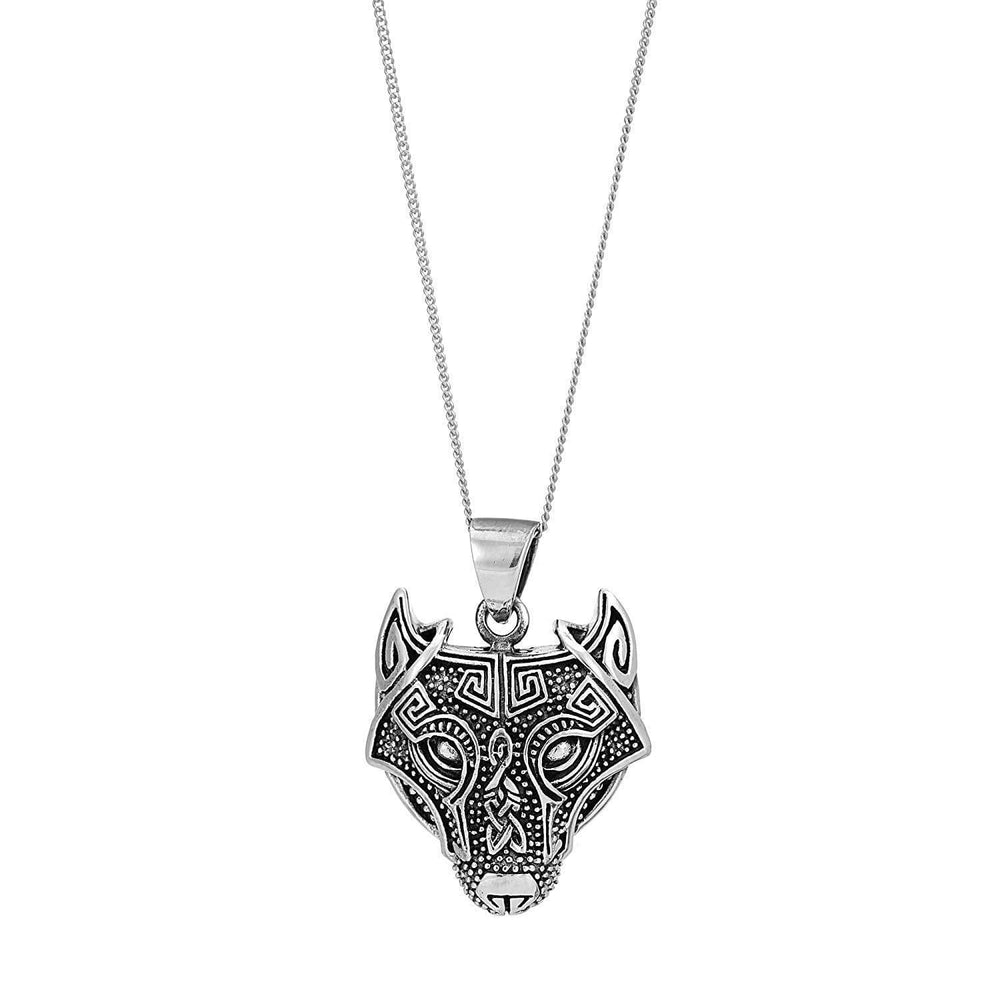 Load image into Gallery viewer, Sterling Silver Norse Wolf Fenrir Pendant Necklace