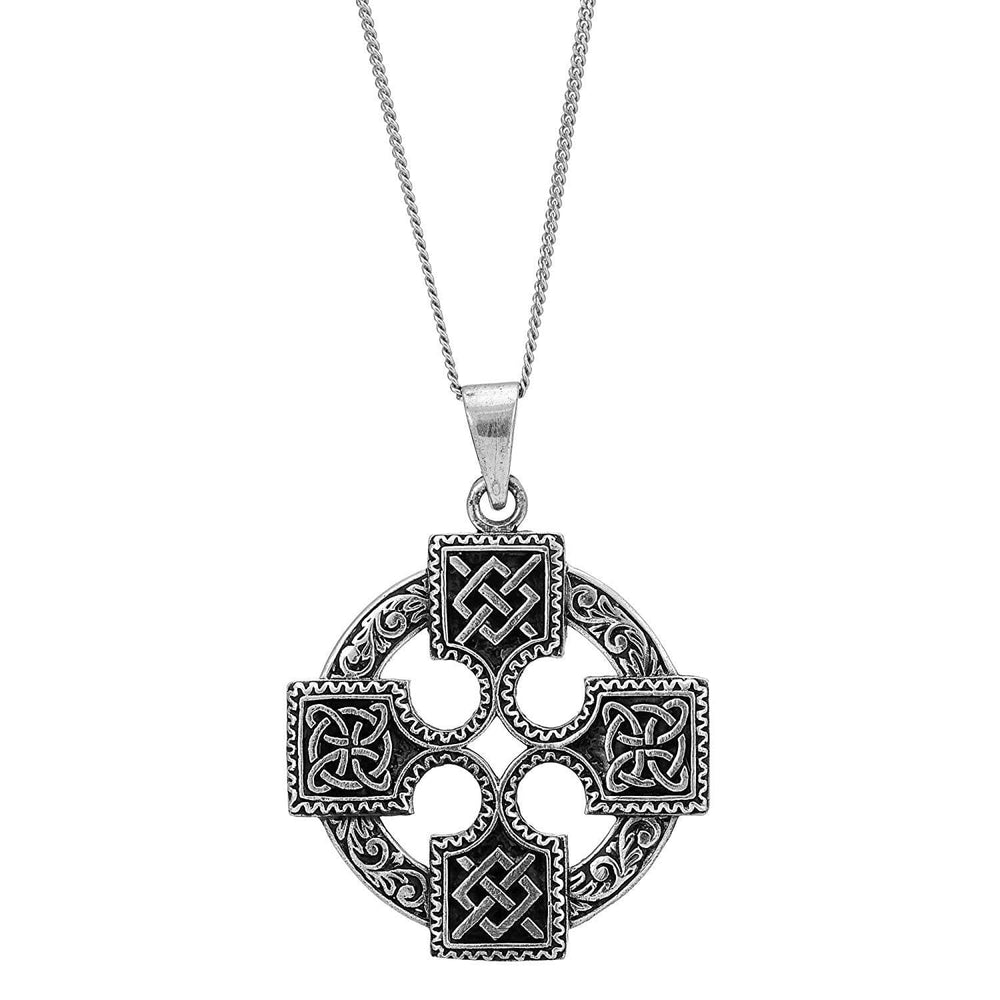 Sterling Silver Sailor's Knot & Celtic Cross Pendant Necklace