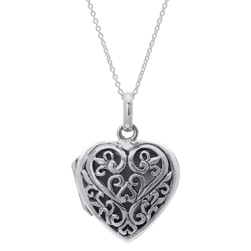 Sterling Silver Filigree Heart Locket Pendant Necklace