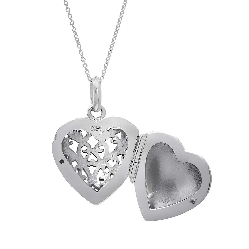 Load image into Gallery viewer, Sterling Silver Filigree Heart Locket Pendant Necklace