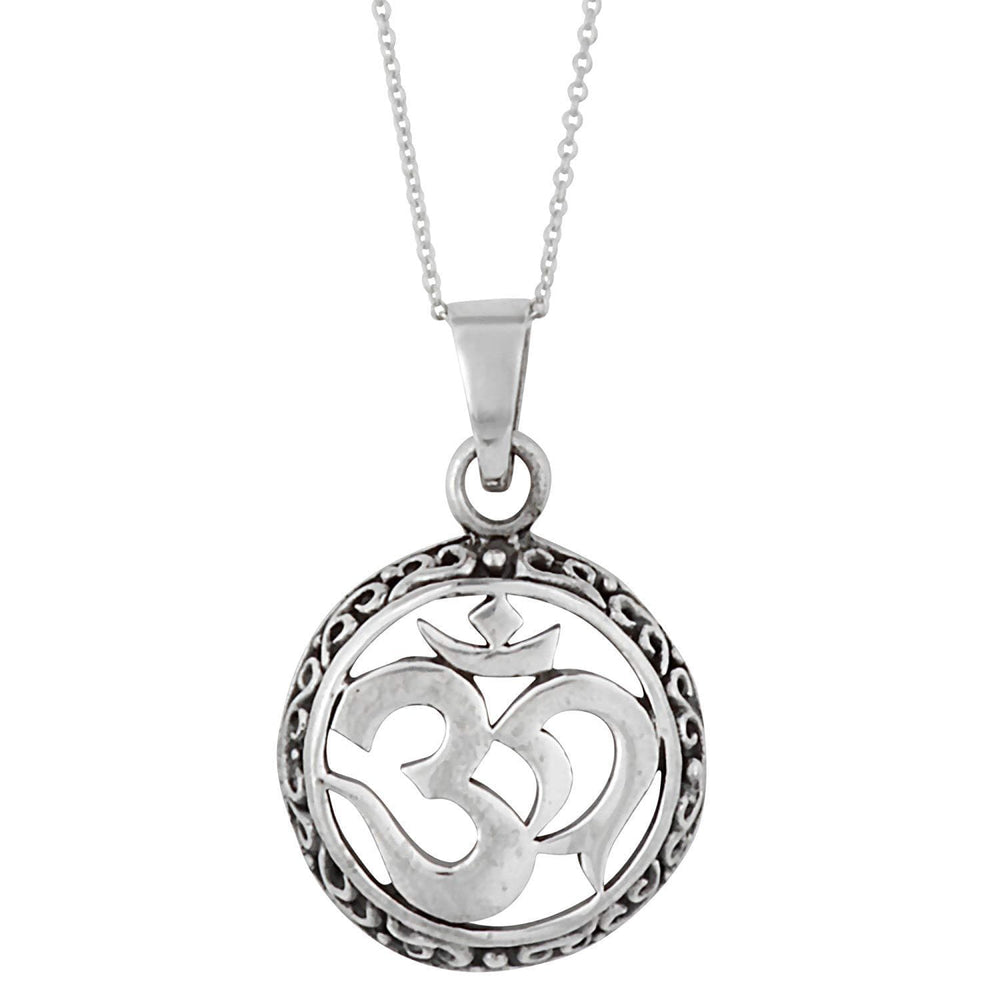 Sterling Silver Om Aum Circle Pendant Necklace