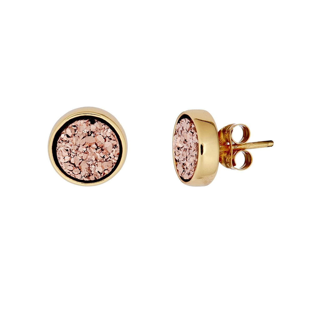 Gold Plated Sterling Silver Rose Gold Druzy Stud Earrings