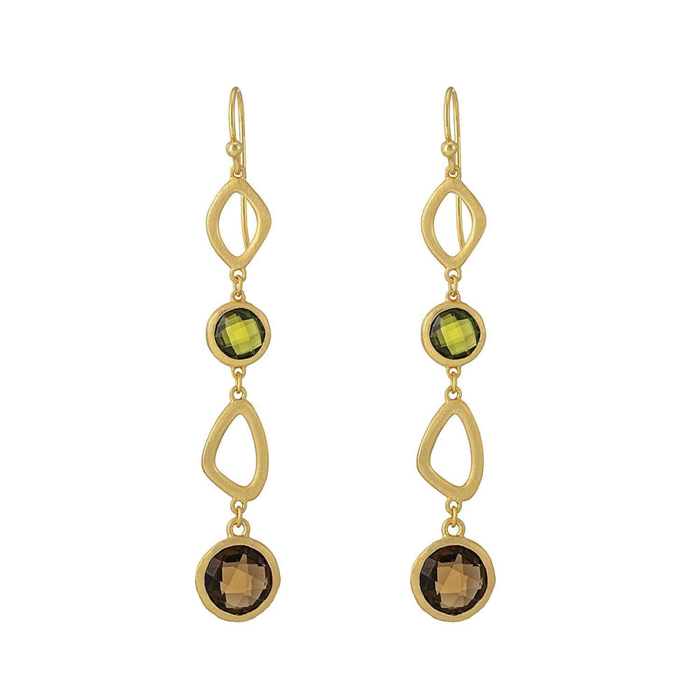 Brushed Gold Plated Sterling Silver Long Green & Orange Gem Earrings
