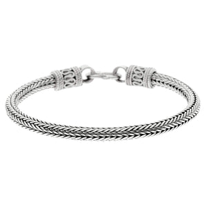 Load image into Gallery viewer, Sterling Silver Balinese Flat Wheat Chain Bracelet