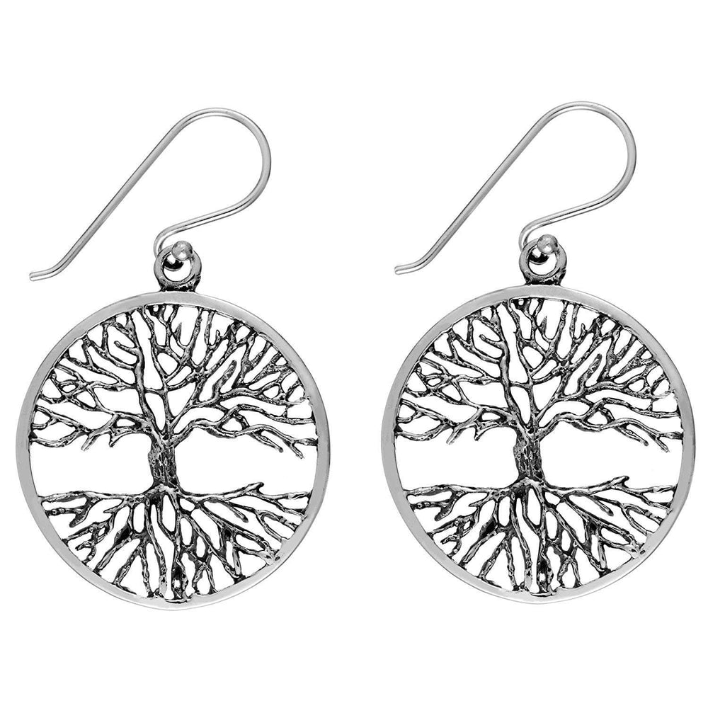 Load image into Gallery viewer, Sterling Silver Tree of Life Dangle Earrings