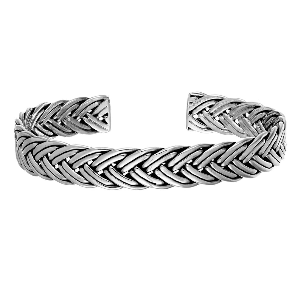 Load image into Gallery viewer, Sterling Silver Double Braided Bangle