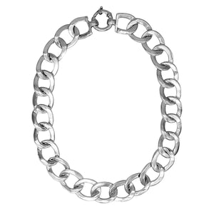 Load image into Gallery viewer, Sterling Silver Electroform Chunky Flat Oval Curb Chain Necklace