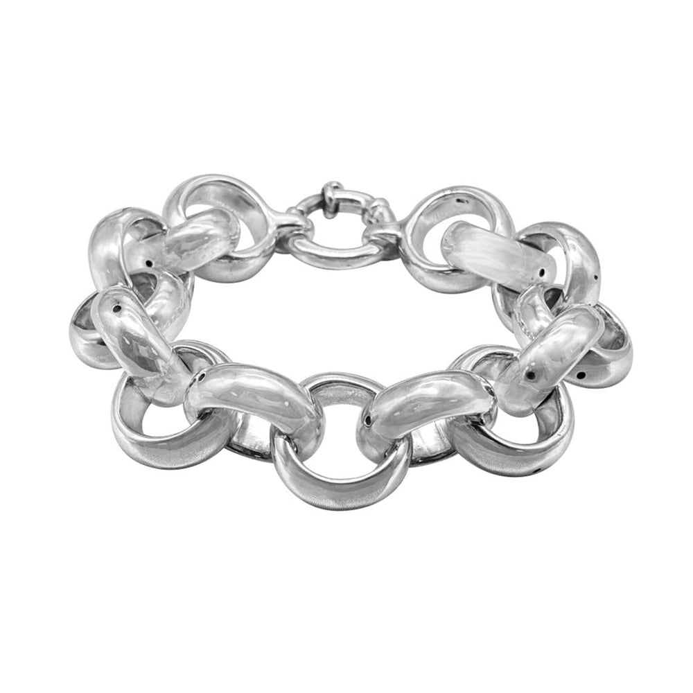 Load image into Gallery viewer, Sterling Silver Electroform Thick Rolo Chain Bracelet