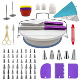 106 pcs Cake Decorating Kit with Rotating Turntable Stand, Icing Piping Tips Pastry Bags, Icing Spatula Smoother