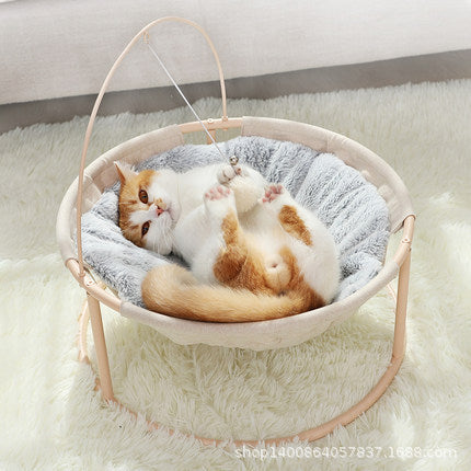 Cat bed network red cat nest summer four seasons universal removable pet bed cat nest round nest mat cat supplies