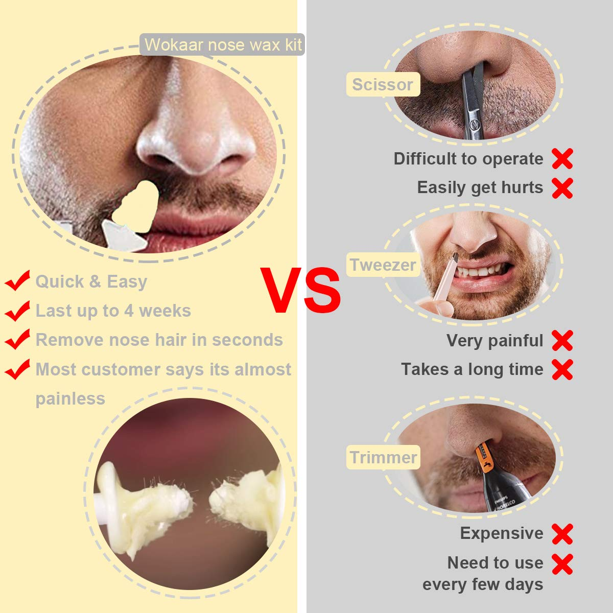 Nose Wax Kit Hair Removal Waxing Kit For Nose Ear And Eye Brow