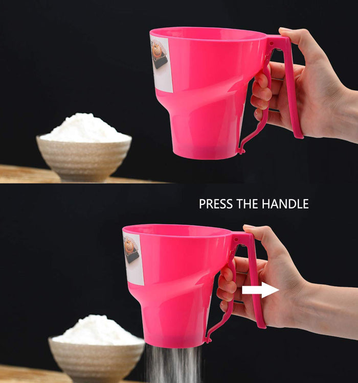 One-handed Flour Sifter Plastic Sieve Cup Screen Mesh Powder Flour Sieve