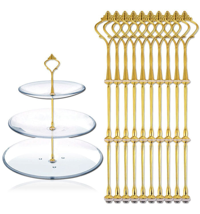 3 Tier Golden Crown Cake Stand Fruit Cake Plate Handle Fitting Stand Holder