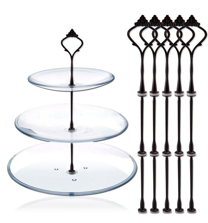 3 Tier Black Crown Cake Stand Fruit Cake Plate Handle Fitting Stand Holder