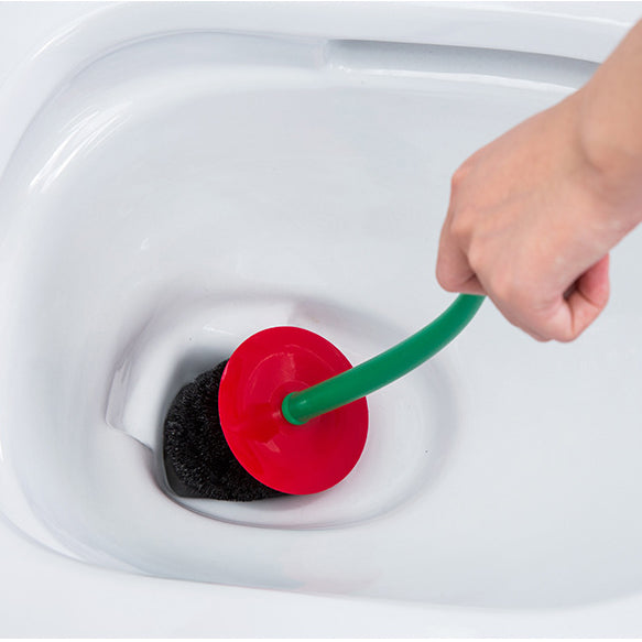 The brush head is black and Brush head can be replaced. Toilet brush and plunger set stores near the toilet in an all which makes for a convenient storage option for the restroom Toilet brush set design for convenient, clean and sanitary Can help you more effectively to achieve the best cleaning result.