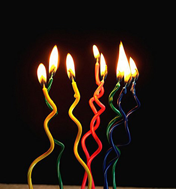 8 Spiral Curly Twist Colorful Birthday Party Cake Candles