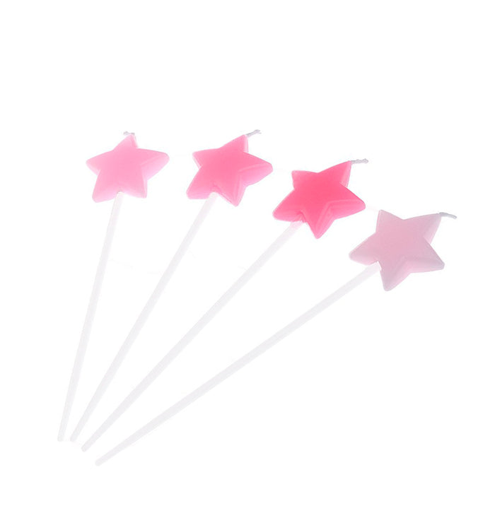 4 Pink Stars Shape Party Cake Cupcake Dessert Candles