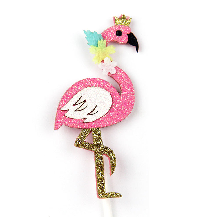 2PCS DIY Glitter Flamingo Birthday Party Cake Topper Cake Decoration