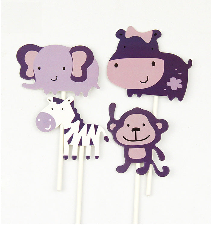 4PCS Cute Zoo Animal Cupcake Toppers For Baby Shower Kids Birthday Party
