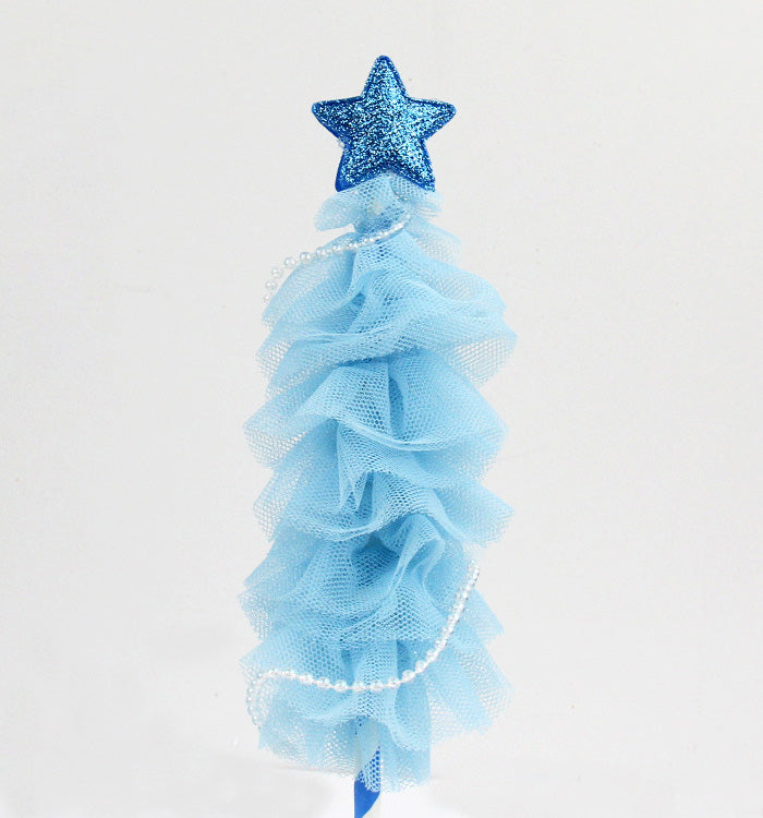 Blue Handmade Holiday Party Christmas Tree Cake Topper Cake Decoration