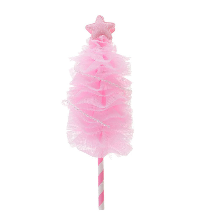 Pink Handmade Holiday Party Christmas Tree Cake Topper Cake Decoration