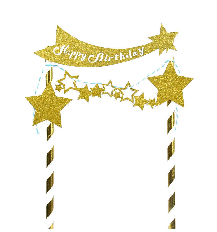 Golden Glitter Happy Birthday With Stars Party Cake Bunting Topper