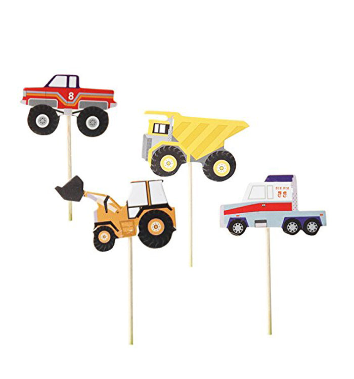 24PCS Truck Excavator Dumpers Party Cupcake Decorative Toppers Picks