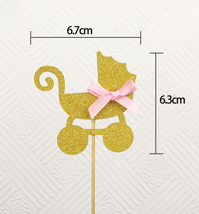 5PCS Golden Glitter Baby Carriage Pram Baby Shower Cupcake Toppers