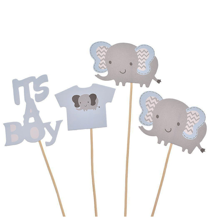 Blue Elephant DIY Cake Cupcake Topper Picks For It's A Boy Baby Shower