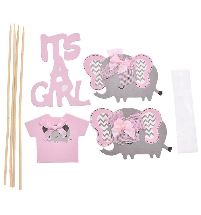 Pink Elephant DIY Cake Cupcake Topper Picks For It's A Girl Baby Shower