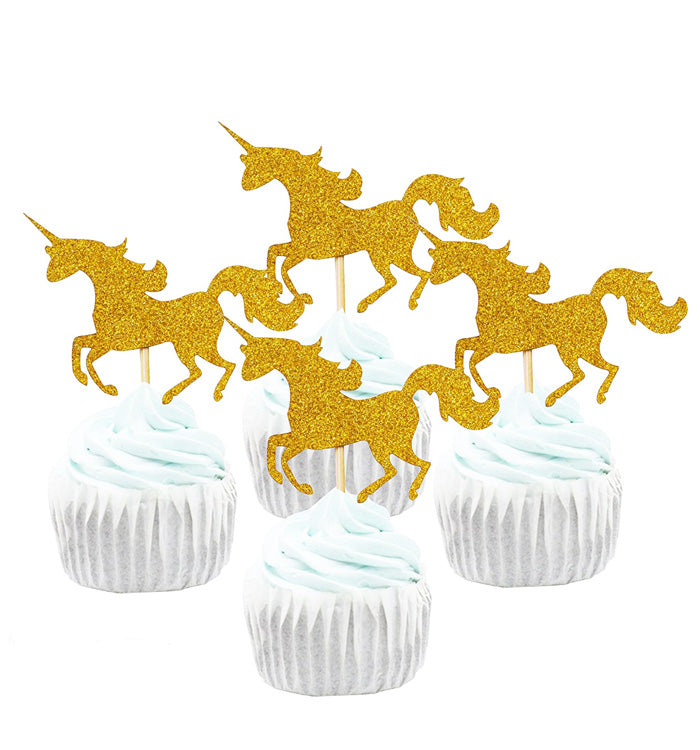 10Pcs Golden Glitter Unicorn Cupcake Toppers for Cake Decorations