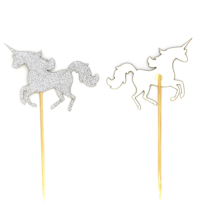 10Pcs Silver Glitter Unicorn Cupcake Toppers for Cake Decoration