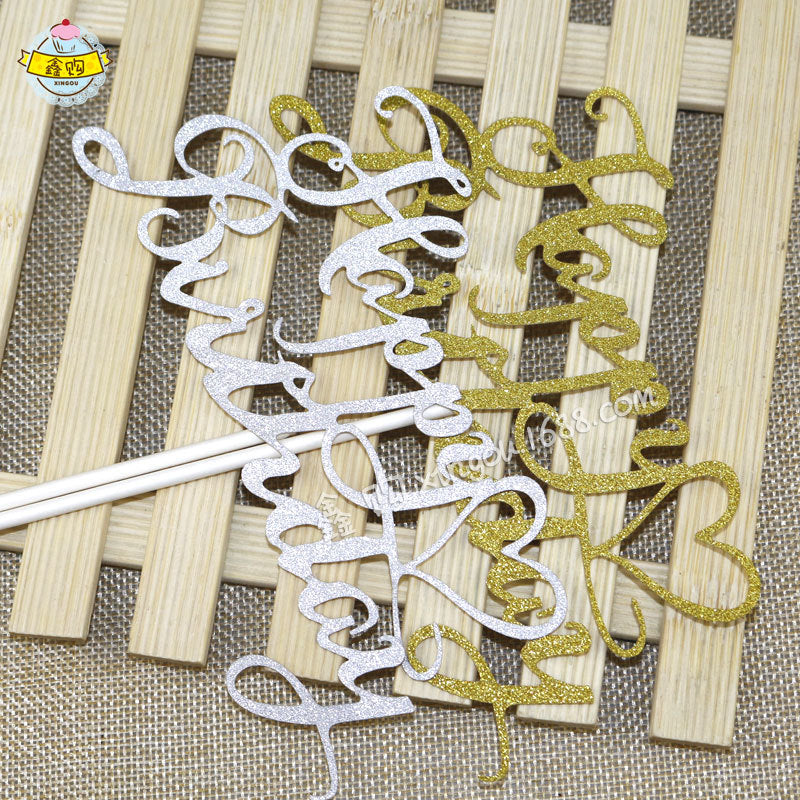 2PCS Golden & Silver Glitter Letters Happy Birthday Cake Topper Decorations